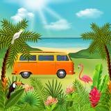 Hippie Van Holidays Composition Stockbilder
