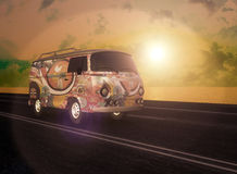 Hippie Van on the Road. This animation can be used easily for Music Video Projects Grunge Projects Movie and Short Movie Projects Royalty Free Stock Photos
