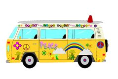 Hippie van. From sixties and seventies with patterns and surf board on roof Royalty Free Stock Photos