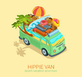 Hippie van travel beach adventure vacation flat 3d web isometric Stock Photos