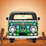Hippie Van Traveling maravilloso en el ejemplo caliente del vector del desierto stock de ilustración