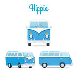 Hippie vintage blue mini van Royalty Free Stock Photo