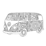 Hippie vintage bus for adult or children coloring book. Hippie vintage car a mini van in zentangle style for adult or children coloring book. Coloring page with Stock Images