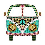 Hippie vintage car a mini van. In zentangle style for adult anti stress. Coloring page with high details isolated on white background. Made by trace from sketch royalty free illustration