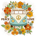 Hippie vintage car a mini van. Ornamental background. Hippy color vector illustration. Hand drawn image. The popular bus model of the hippie movement vector illustration