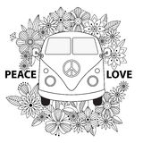 Hippie vintage car a mini van. Ornamental background. royalty free illustration