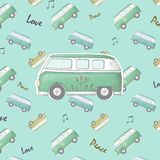 Hippie vintage car a mini van Ornate background Love and Music with hand-written fonts hand-drawn doodle background and textures vector illustration