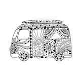 Hippie vintage car a mini van in zentangle style for adult anti stress. Stock Image
