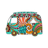 Hippie vintage car a mini van in zentangle style. Colorful hippie bus. Hippy color vector illustration. Retro 1960s, 60s, 70s. Ornamental background. Vintage stock illustration