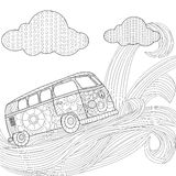Hippie vintage car minivan on a wave in the sky vector illustration stock illustration