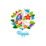 Hippie vintage label with flowers royalty free illustration