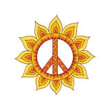 Hippie vintage peace symbol in zentangle style. Ornamental tie dye t-shirt print isolated on white background. Mandala round pattern. Hippy colorful vector Stock Photography