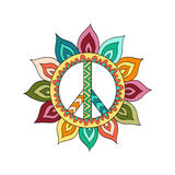 Hippie vintage peace symbol in zentangle style. Ornamental tie dye t-shirt print isolated on white background. Mandala round pattern. Hippy colorful vector Royalty Free Stock Images