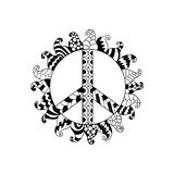 Hippie vintage peace symbol in zentangle style. Ornamental tie dye t-shirt print isolated on white background. Mandala round pattern. Hippy black and white Royalty Free Stock Image