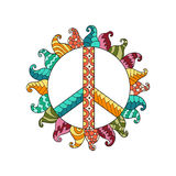 Hippie vintage peace symbol in zentangle style. Ornamental tie dye t-shirt print isolated on white background. Mandala round pattern. Hippy colorful vector Royalty Free Stock Image