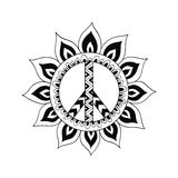 Hippie vintage peace symbol in zentangle style. Ornamental tie dye t-shirt print isolated on white background. Mandala round pattern. Hippy black and white Stock Photography