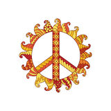 Hippie vintage peace symbol in zentangle style. Ornamental tie dye t-shirt print isolated on white background. Mandala round pattern. Hippy colorful vector Stock Photo