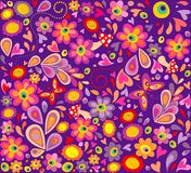 Hippie violet wallpaper with funny butterflies, colorful flowers and mushrooms. Hippie violet wallpaper with funny butterflies, colorful abstract flowers and Vector Illustration