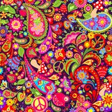 Hippie Vivid Colorful Wallpaper With Abstract Flowers, Hippie Peace Symbol, Mushrooms, Pomegranate And Paisley Stock Image