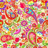 Hippie Vivid Colorful Wallpaper With Abstract Flowers, Hippie Peace Symbol, Peace And Love Words, Mushrooms, Pomegranate And Paisl Royalty Free Stock Image