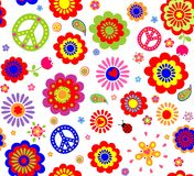 Hippie wallpaper. With abstract flowers Vector Illustration
