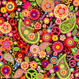 Hippie wallpaper with colorful flower print Royalty Free Stock Photos