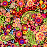 Hippie wallpaper. With colorful spring flowers and paisley Royalty Free Stock Photo