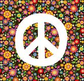 Hippie wallpaper with flowers print Stock Photo