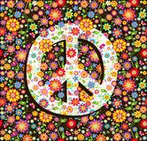 Hippie wallpaper with flowers print and peace symbol. Hippie wallpaper with colorful flowers print and peace symbol Royalty Free Stock Photography