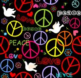 Hippie wallpaper with peace symbol and doves Stock Photo