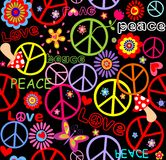 Hippie wallpaper with peace symbol, mushrooms and abstract flowers Royalty Free Stock Image