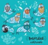 Hippie-Walrosse mit Bärten und Tätowierungen in der Karikaturart Auch im corel abgehobenen Betrag Lizenzfreies Stockbild