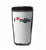 Hippie-Weinlese stilisierte Beschriftungsplakat mit Kaffeetasse Stockbild