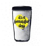 Hippie-Weinlese stilisierte Beschriftungsplakat mit Kaffeetasse Lizenzfreie Stockfotografie