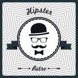 Hippie-Weinlesehintergrund mit Manngesichtsschattenbild Stockbild