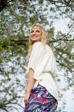 Hippie woman dancing outdoors Royalty Free Stock Photo