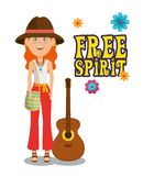 Hippie woman with a guitar cartoon. Vector illustration graphic design royalty free illustration