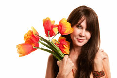 Hippie woman with plastic flowers Royalty Free Stock Photos