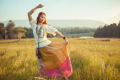 Hippie woman posing Stock Images
