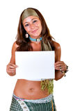 Hippie woman with white empty board Stock Image