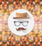 Hippie-Zubehör mit Musterhintergrund Stockfotos