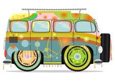 Hippiebil stock illustrationer