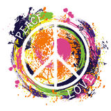 Hippiefredsymbol fred och förälskelse Färgrik hand dragen grungestilkonst vektor illustrationer