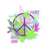 Hippiefredsymbol med cannabissidor, den etniska prydnaden och grungeborsteslaglängder Designbegrepp för trycket, affisch, klister royaltyfri illustrationer