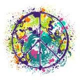 Hippiefredsymbol på jordjordklotbakgrund med färgstänk i vattenfärgstil Arkivfoto