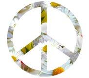 Hippiefriedensikone der weißen Blumen lokalisiert auf weißem Hintergrund stock abbildung