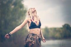 Hippiekvinna Arkivbild