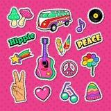 Hippiemodeklotter Klistermärkear förser med märke och lappar med händer och färgrika beståndsdelar Arkivfoto