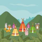 Hippies animals cute hippie cartoon. Hippies animals in the forest cute cartoon vector illustration graphic design Stock Photo