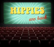 Hippies are back movie screen in old retro cinema. Hippies are back concept movie screen in old retro cinema Stock Image